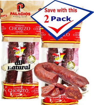 Chorizos Palacios autentico importado de Espa�a. 7.9 oz.Pack of 2 by