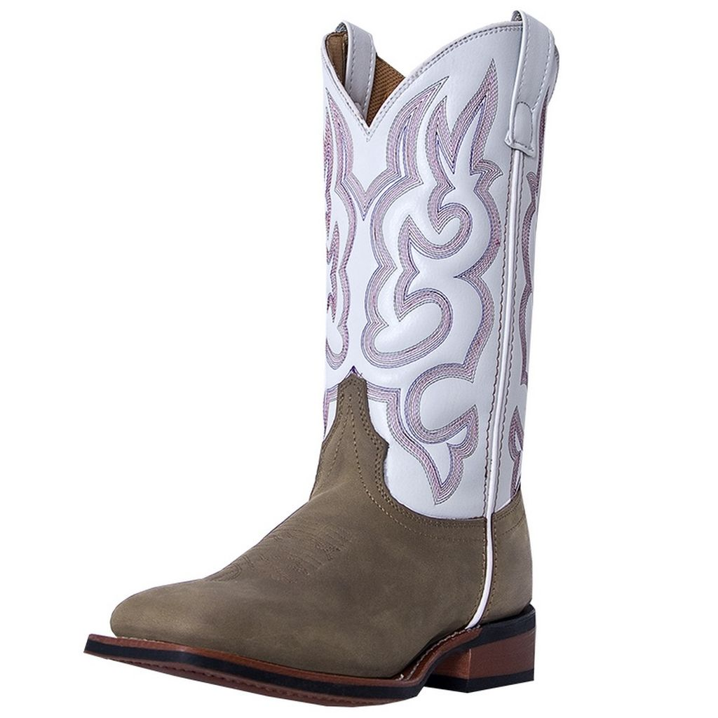 Laredo Western Boots Womens Cowboy Mesquite Broad Toe Taupe White 5621 by Laredo