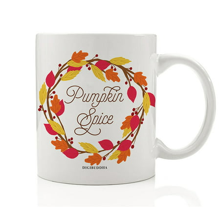 Autumn Leaves Wreath Coffee Beverage Mug Gift Idea Pumpkin Pie Spice Fall Seasonal Halloween Thanksgiving Holiday Dinner Present for Friends Family Coworkers 11oz Ceramic Tea Cup Digibuddha DM0372