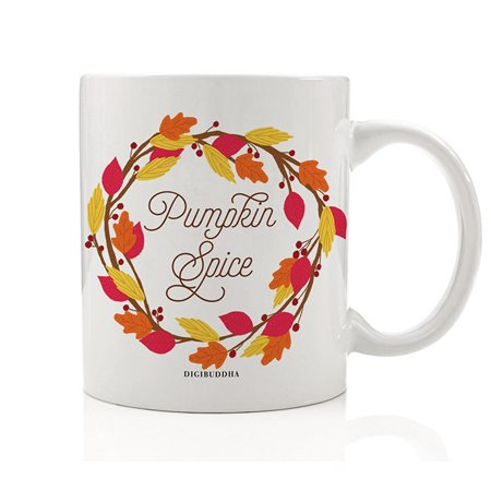 Autumn Leaves Wreath Coffee Beverage Mug Gift Idea Pumpkin Pie Spice Fall Seasonal Halloween Thanksgiving Holiday Dinner Present for Friends Family Coworkers 11oz Ceramic Tea Cup Digibuddha DM0372 - Halloween Pumpkin Ideas Patterns