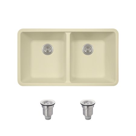 MR Direct 802 Beige Undermount Composite Granite 32 1/2 in. Equal Double Bowl Kitchen Sink Ensemble With Two Basket Strainers ()