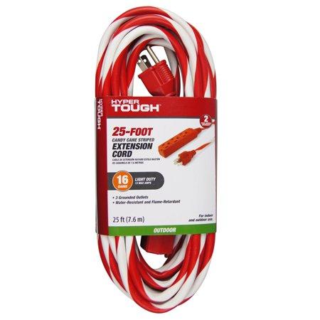 Hyper Tough 3-outlet 25` Candy Cane Cord