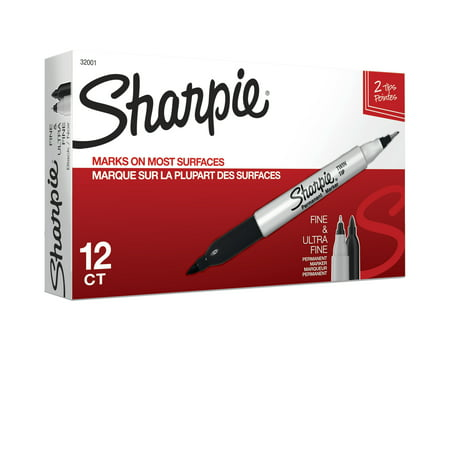 Sharpie Twin Tip Permanent Markers, Fine and Ultra Fine, Black, 12 Count - Neon Markers Black Light