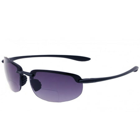 Wrap Rimless Bifocal Sunglasses Sport Sun Reader Reading Glasses Men Women, Black, +2.75 Bifocal Sun Readers Glasses
