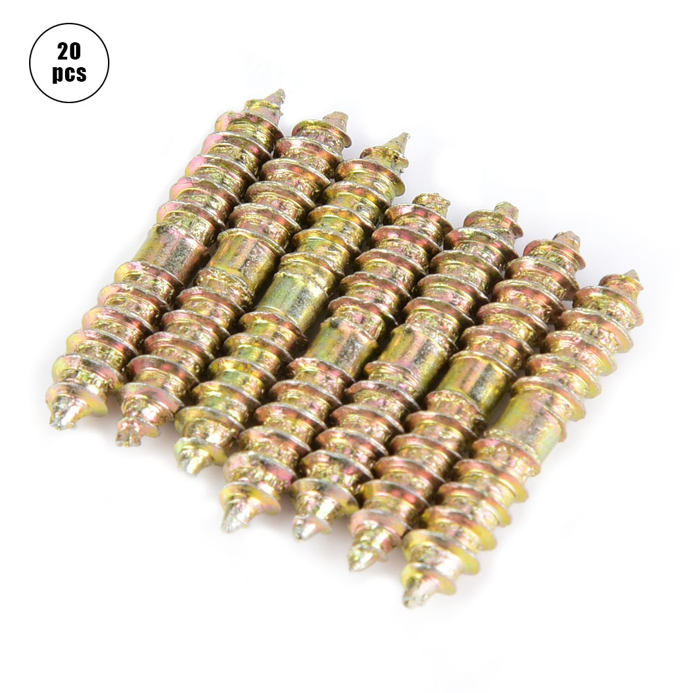 20pcs Self-Tapping Screws 530mm Dowel Screw Woodworking Furniture Connector Double Ended Screw Wood Screw