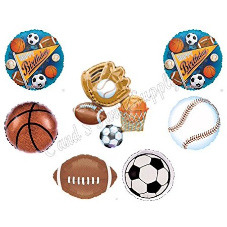 SPORTS Happy Birthday Party Balloons Decoration Supplies Football Athlete - Football Birthday Party Supplies
