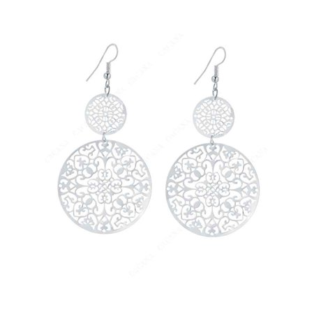 1 Pair Hollow Round Dangle Earrings Women Flowers Round Drop Earrings Hook Earrings (Silver) ()