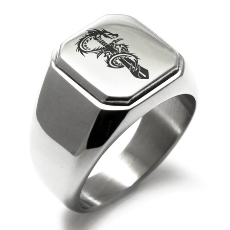 Stainless Steel Exalted Dragon Blade Engraved Square Flat Top Biker Style Polished Ring Tibetan Silver Dragon Ring