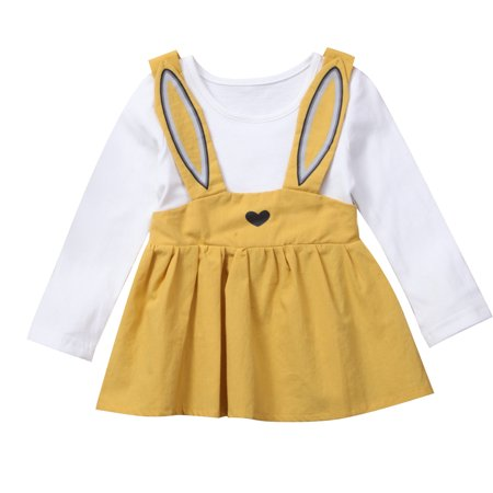 Cute Infant Toddler Baby Girls Long Sleeve Rabbit Easter Dress Outfits](Easter Chick Baby Outfit)