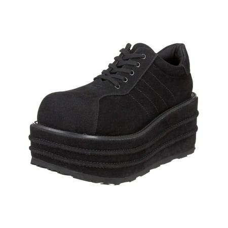 3 1/2 Inch MENS Platform Black Shoes Punk Sneakers Veggie Suede Shoes (5 Inch Platform Sneakers)