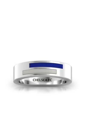 Chelsea Fc Asymmetric Enamel Ring In Blue And Light Grey