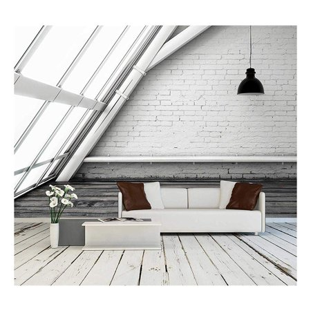 wall26 - Room with Ceiling Lamp and Big Window - Removable Wall Mural | Self-adhesive Large Wallpaper - 100x144 inches