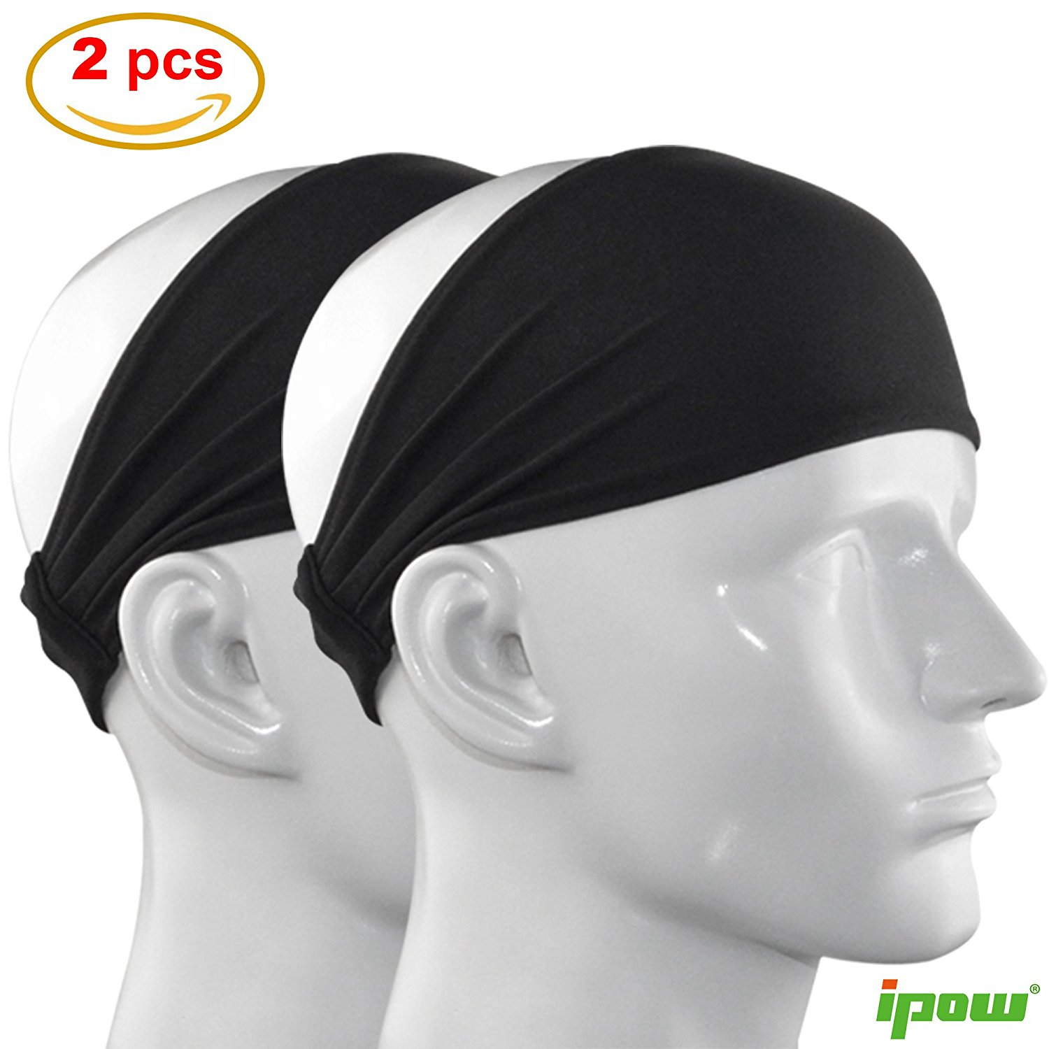 IPOW Sports Headband & Sweatband Absorbing Non-slip Head Band Elastic Hair Band for Women & Men Athletic Running, Working Out, Moisture Wicking, 4 inches,2 Pack, Green Monday / Christmas Day Deal