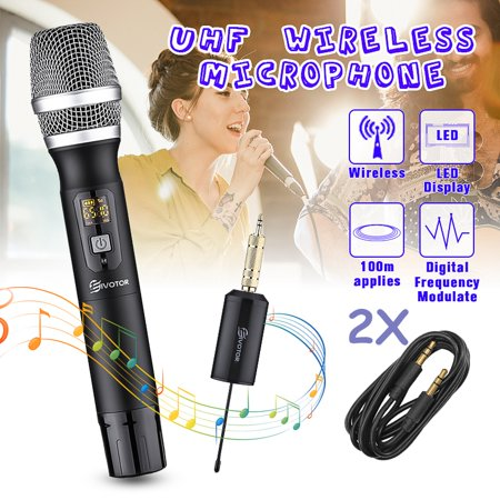 2PCS Wireless Handheld Dual Microphone System UHF 25 Channel Rechargeable Receiver Dual Channel Rechargeable Wireless Microphone