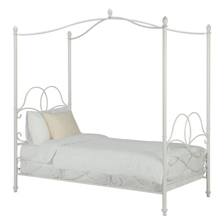 DHP Fancy Metal Canopy Bed, Twin, Multiple Colors (Silver Canopy Bed)
