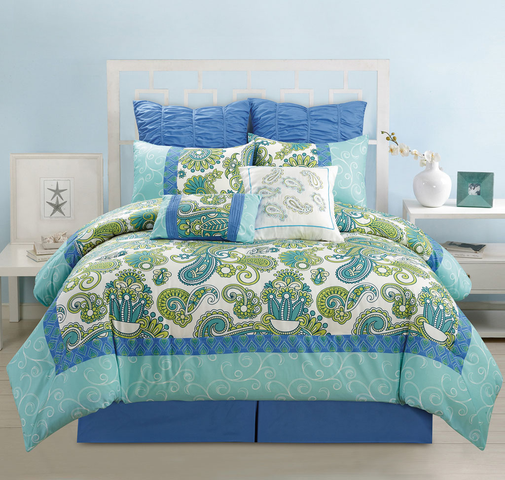 12 Piece Adelisa Blue Green Aqua Bed In A Bag W 500tc Cotton Sheet Set