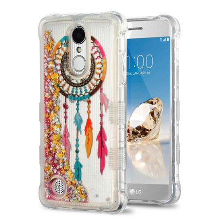 Rebel Floating - Kaleidio Case For LG Rebel 3 LTE L157BL (TracFone / Straight Talk) [TUFF Lite] Hybrid TPU Gel [Quicksand Glitter] Skin Cover w/ Overbrawn Prying Tool [Liquid Dreamcatcher & Gold Stars]