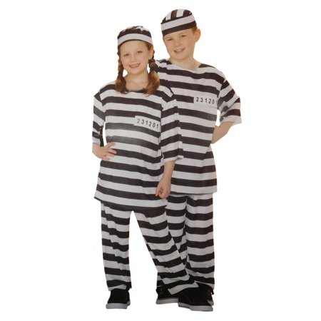 Boys & Girls Kid Prisoner Halloween Costume Hat, Top, Pants for $<!---->
