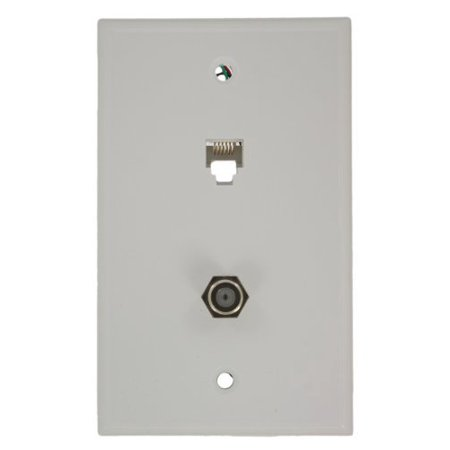 - Leviton 40258-W White Combination Telephone Jack and F-Connector Wall Plate