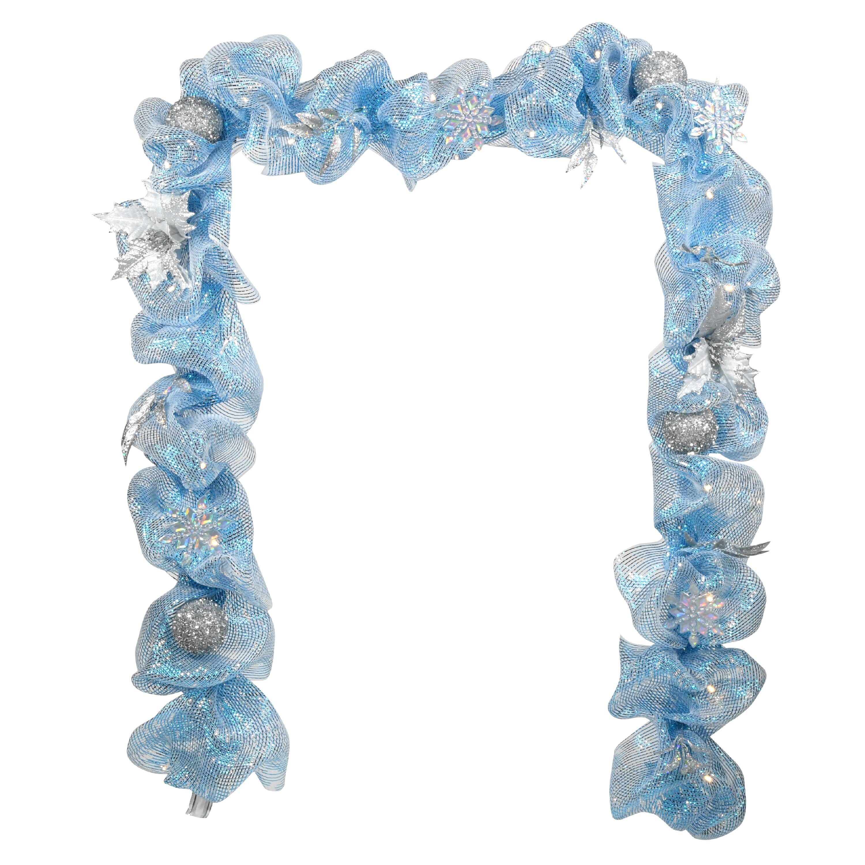 Lighted Mesh Garland, Blue, 9 feet