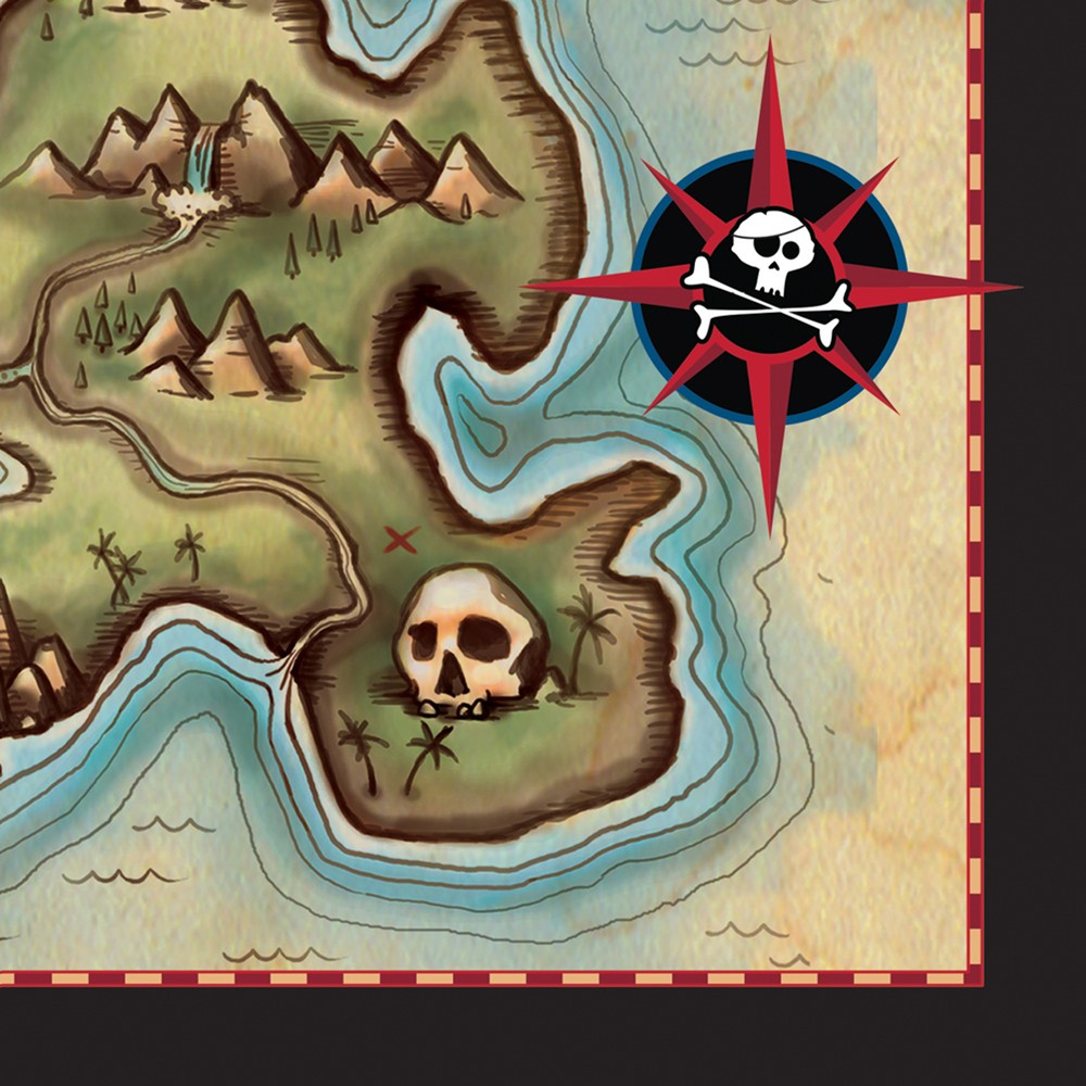 Pirates Map 2 Ply Beverage Napkins/Case of 192
