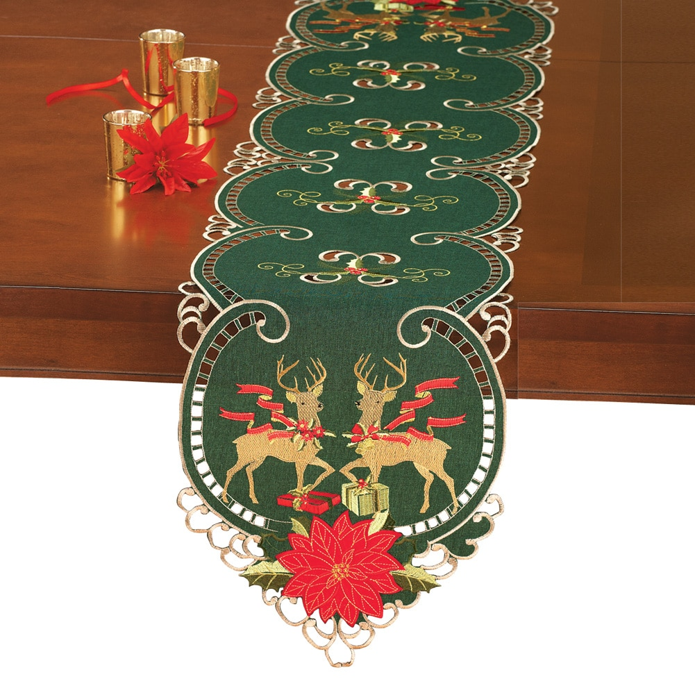 Elegant Reindeer Traditional Christmas Table Linens, Runner by Collections Etc