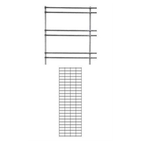"2 x 6 foot Chrome Slat Grid Panel - 3"" on Center ¼"