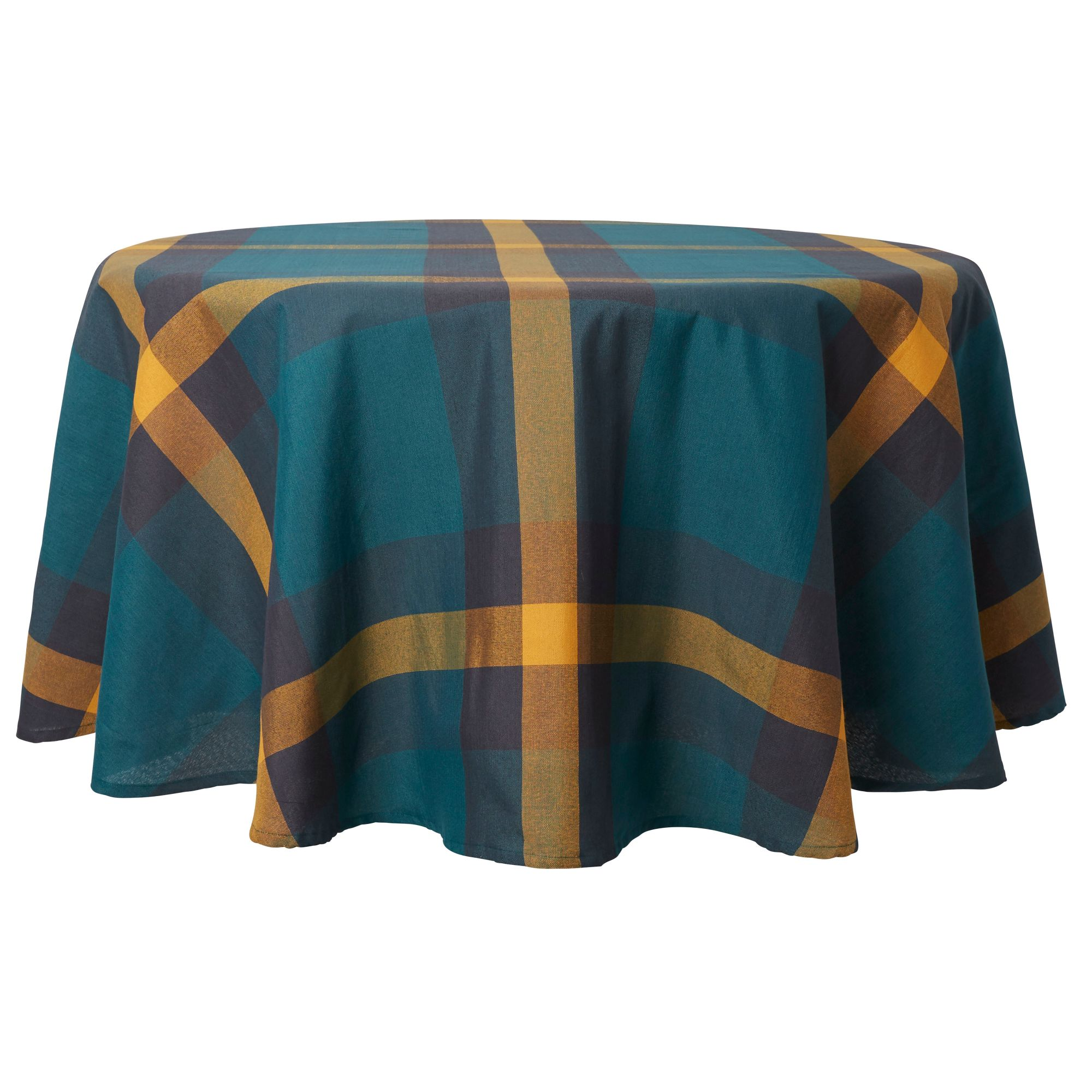 Mainstays Oversized Plaid Tablecloth 70 Quot Round Teal