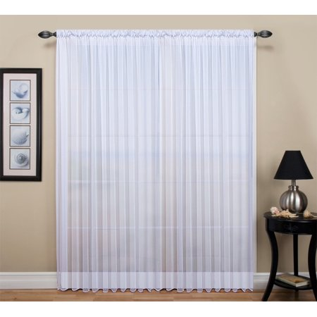 "Tergaline semi-sheer rod pocket curtain panel 108"" x 84"" long - White"