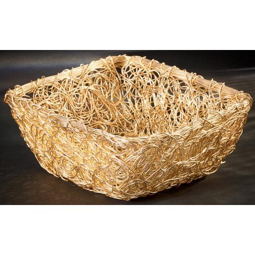 Kindwer Gilded Square Twist Wire Mesh Basket