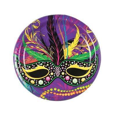 IN-13774200 Mardi Gras Mask Paper Dinner Plates 8 Piece(s) 2PK - Paper Plate Halloween Mask Ideas