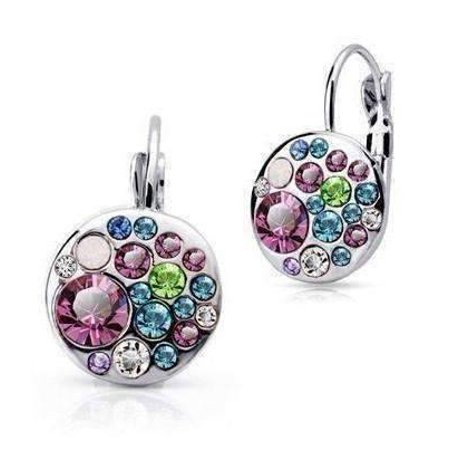 Austrian Crystal Stones - ON SALE - Party Confetti Austrian Crystal White Gold Plated Leverback Earrings Dark Pink Stone