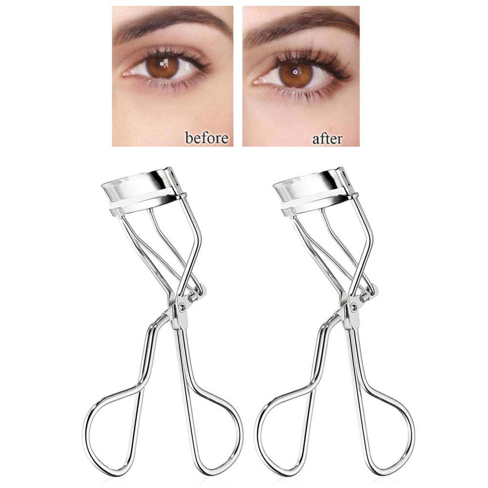 2 Professional Eyelash Curler Curl Clip Cosmetic Makeup Refill Pad Tweezers Tool