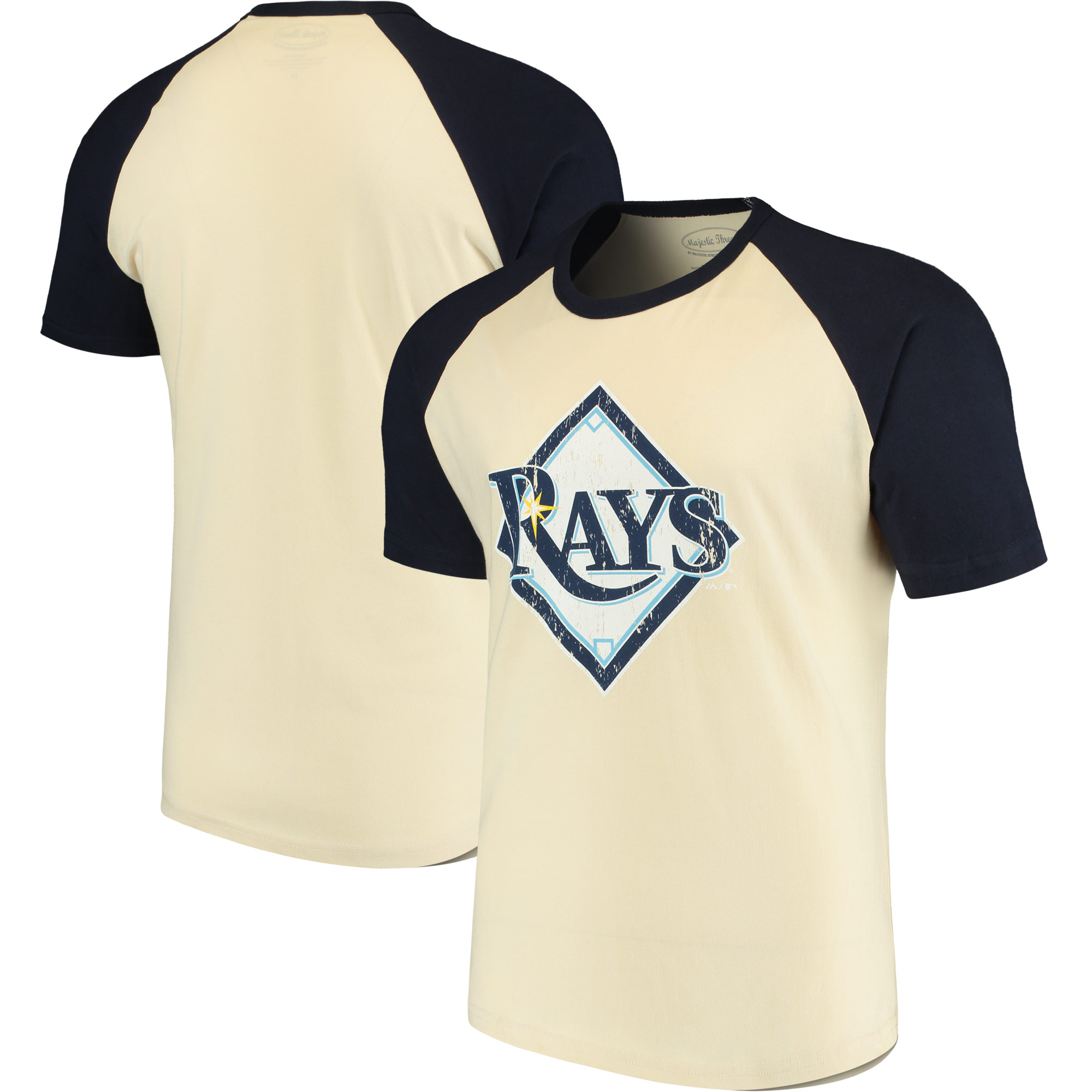 Tampa Bay Rays Majestic Threads Softhand Raglan T-Shirt - Cream/Navy