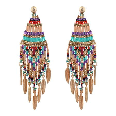Glass Seed Bead Earrings - Lux Accessories Boho Festival Multicolor Seed Bead Dangle Statement Earrings