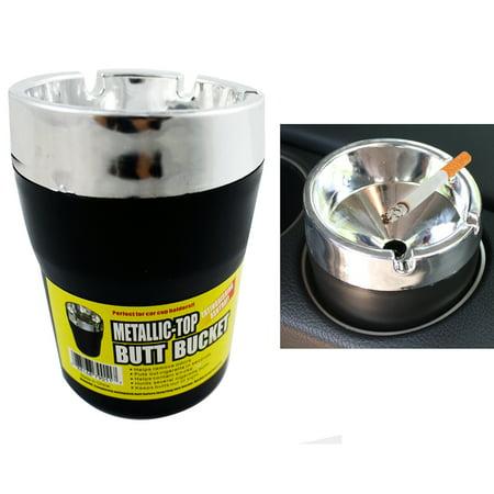 Outdoor Ashtray Cigarette - Metallic Top Butt Bucket Car Cigarette Ashtray Extinguish Odor Remover Container