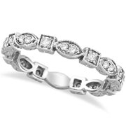 Allurez 14k Gold 0.36ct Antique Style Diamond Eternity Ring Band