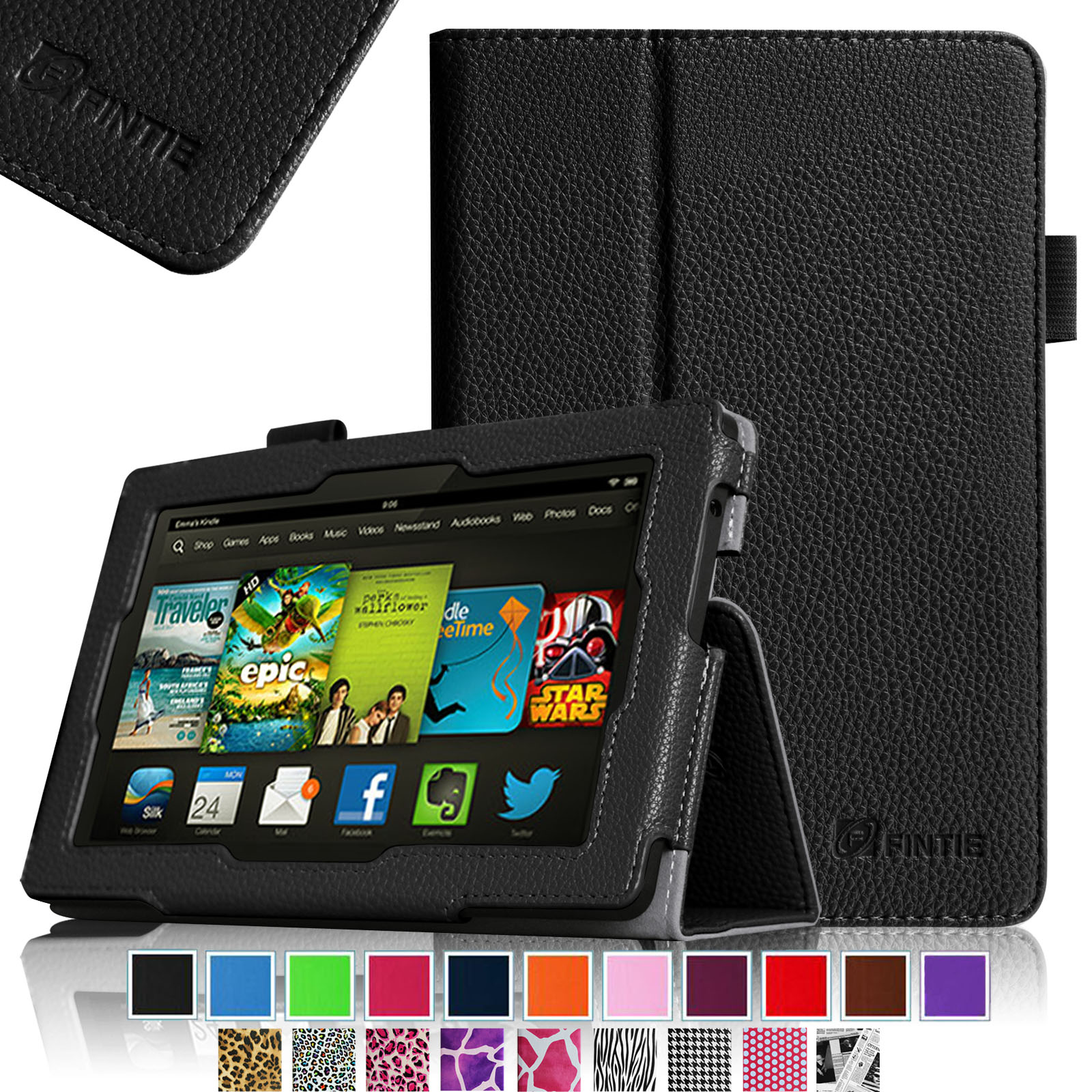 "Fintie Kindle Fire HD 7"" Tablet (2013 Old Model) Slim Fit Folio Case with Auto Sleep / Wake Feature, Black"