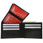 Cowhide Leather Removable Card ID Holder Mens Bifold Wallet 533 CF (C) Black