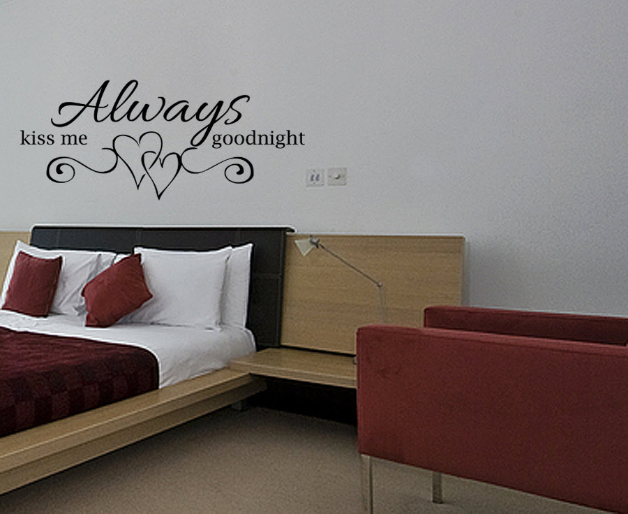 always kiss me goodnight vinyl wall decal quotes home decor