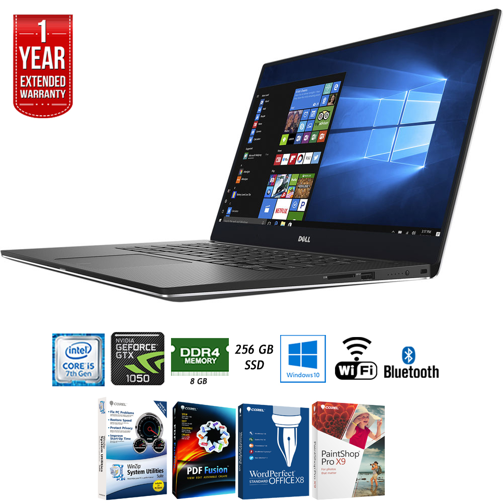 "Dell XPS9560-5000SLV 15.6"" 4k Touch Display Intel i5-7300HQ 8GB 256GB Laptop + Elite Suite 17 Standard Software Bundle (Corel WordPerfect, Winzip, PDF Fusion,X9) + 1 Year Extended Warranty"