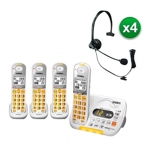 """Uniden D3097-4 with Headset DECT 6.0 Amplified Cordless Phone w  3 Extra Handsets"" by Uniden"