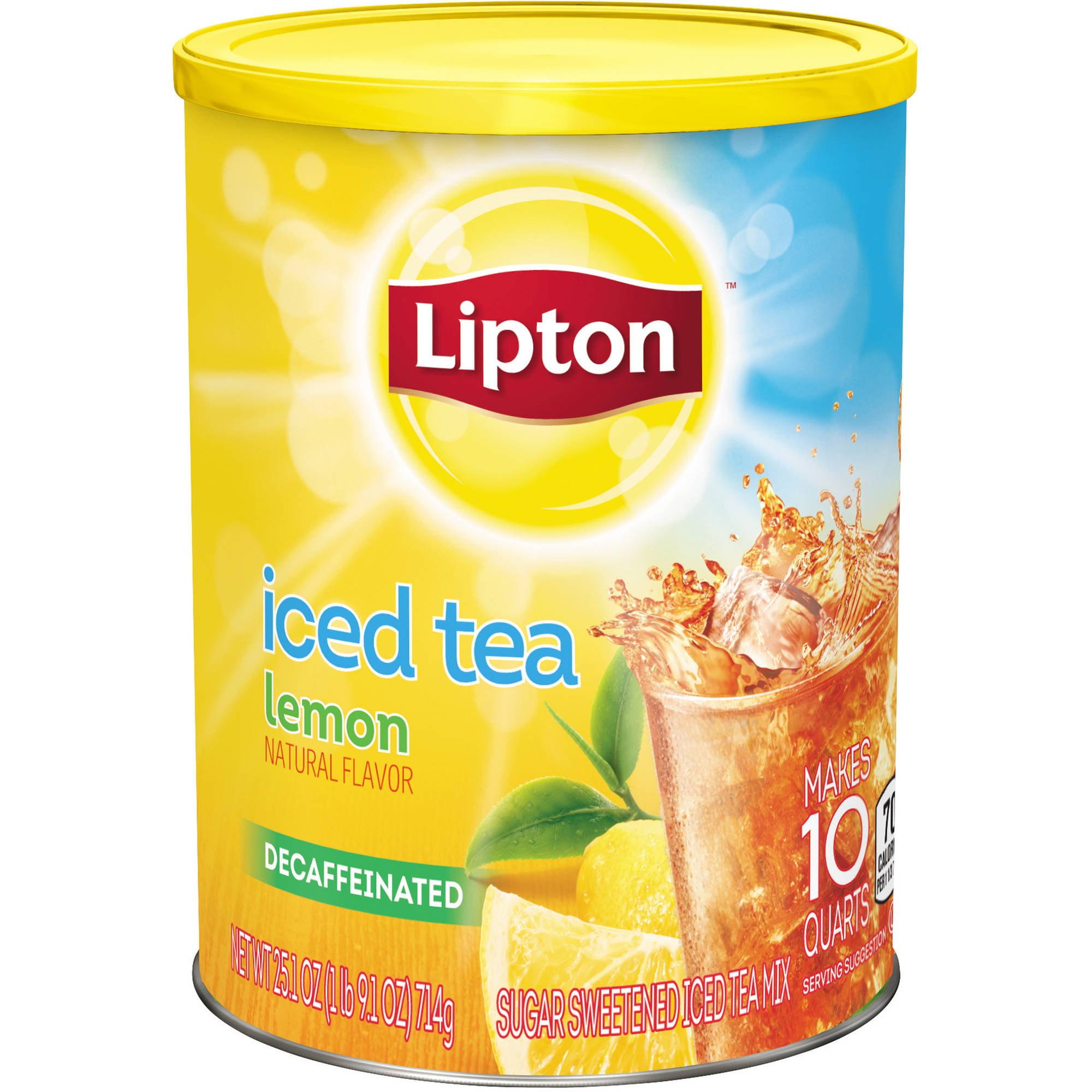 Lipton Decaffeinated Lemon Sweetened Iced Tea Mix, 10 qt