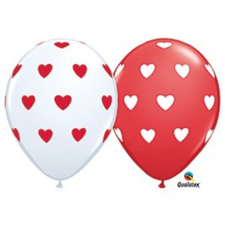 11 Inch Big Hearts Red White Balloons 100ct Walmartcom