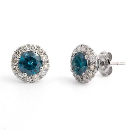 0c20d1e10 Victoria Kay - Victoria Kay 14k White Gold 1 3/4ct TDW Blue Diamond Halo Stud  Earrings - Walmart.com