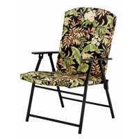 Mainstays Padded Fabric Folding Chair, Black Tropical