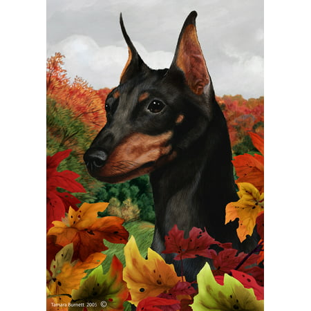 Miniature Pincsher  Black/Tan Cropped - Best of Breed Fall Leaves Large