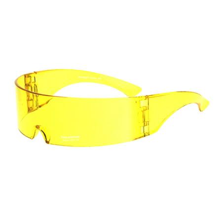 928aaf594b1e SA106 - Cyber Punk Cyclops Shield Neon Color Lens Plastic Warp Sunglasses  Yellow - Walmart.com