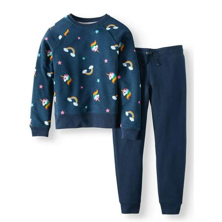 Athletic Works Girls' Printed Fleece Sweatshirt and Jogger Pant 2-Piece Set