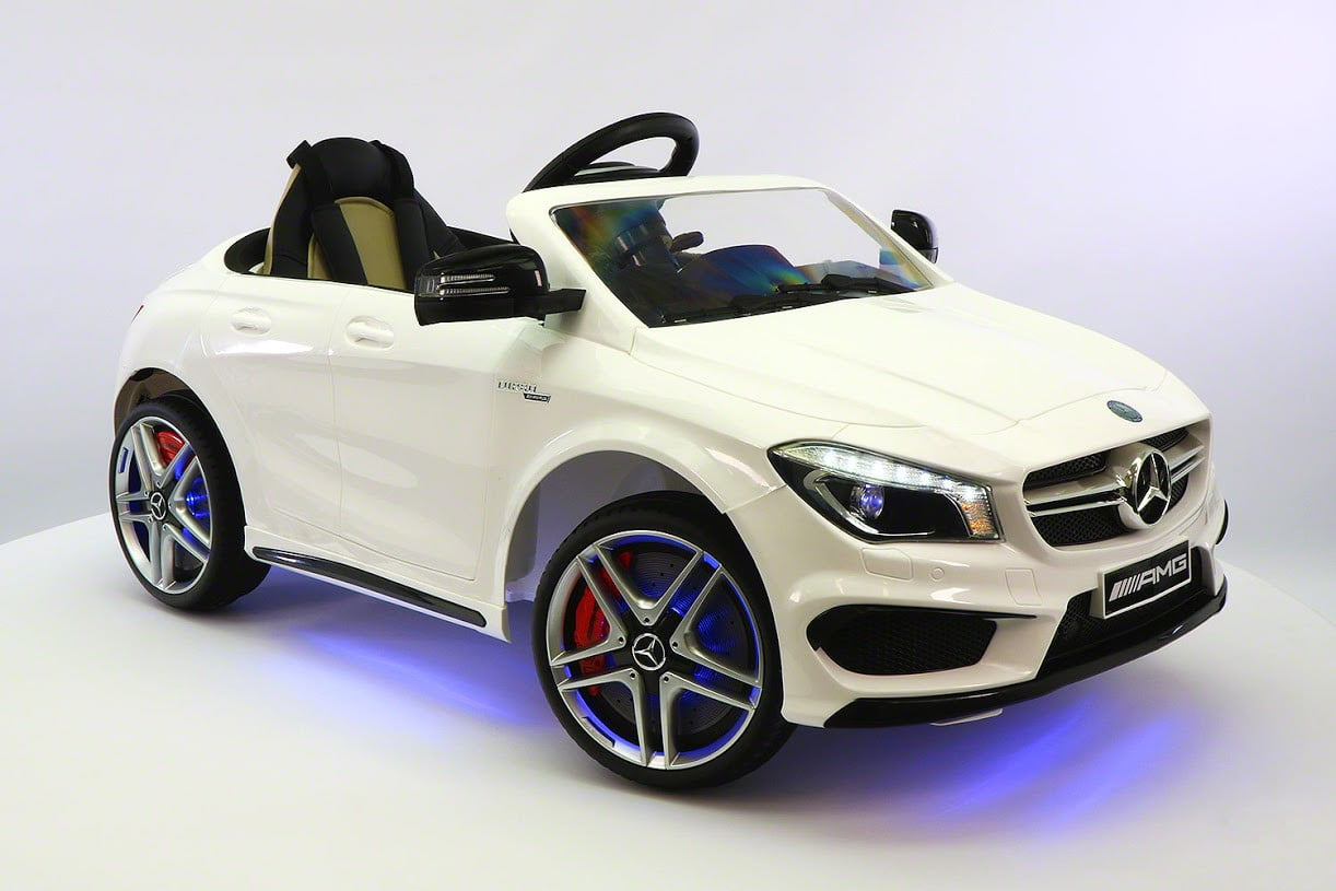 Mercedes Benz CLA45 Kids Ride On Car Toy MP3,USB,12V Bat,Powered Wheels R C White by